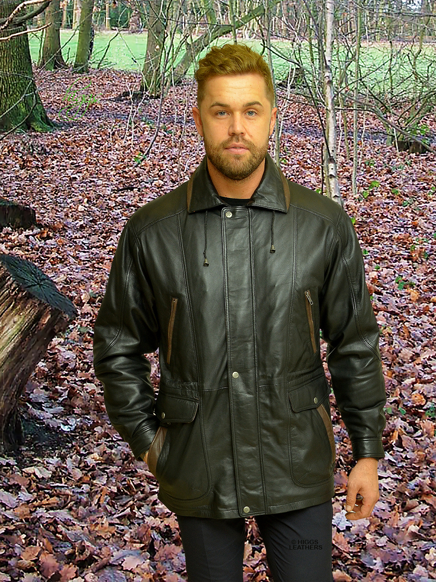 Higgs Leathers {NEW!}  Adrian   (Black and Brown Leather Parka jackets for men)  Perfect for winter wear!